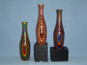 Dyed, striped vases